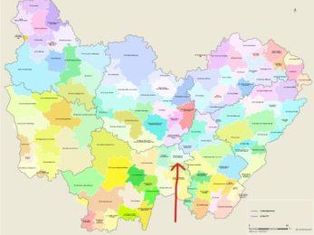 Cette carte représente les EPCI en Bourgogne Franche Comté et la flèche indique la Communauté de Communes Bresse Nord Intercom.